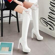 2016 Autumn And Winter Elegant Fashion White Black Platform High-heeled Shoes Korea Lace Women's Knee High Boots On Sale