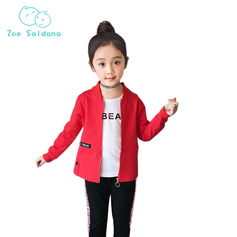 Zoe Saldana Spring 2018  Girl Jacket+Pants+T-shirt 3ps Long Sleeve  Active Printed Girls Clothes Set  Girls Clothing Sports Suit free shipping children clothing spring girl three dimensional embroidery 100% cotton suit long sleeve t shirt pants