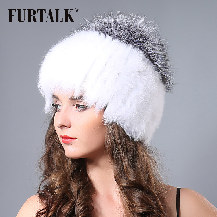 0b5ca509b64 Epacket Free shipping Russian winter animal fur hat white hand knitted real  fox fur hats for women