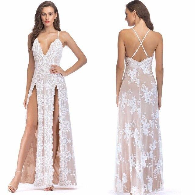 83ef6ebf6d1a Vestidos de MUXU verano 2018 ropa para mujer vestido blanco lentejuelas sin  espalda malla vestidos largos fiesta sukienka jurk