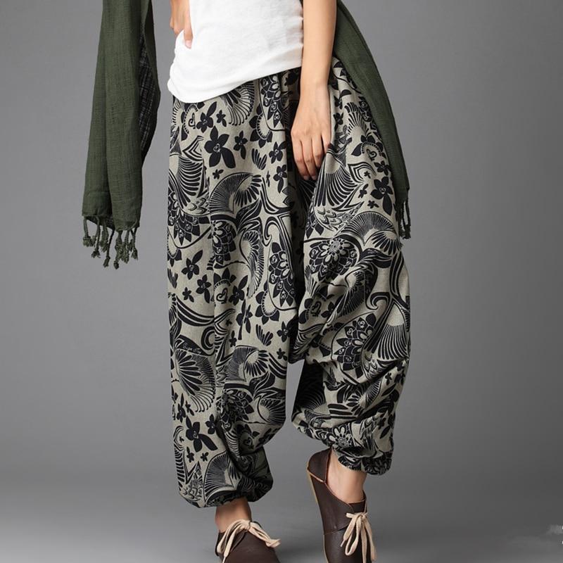 LZJN Nepal Style Baggy Pants Women 2019 Podzimní Cross Kalhoty Květinový Bavlna Lněné prádlo Dámské dlouhé kalhoty Elastické pasové bloomery