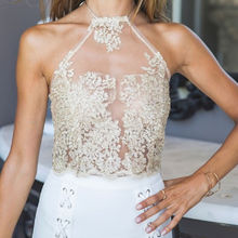 Fashion Women Ladies Summer Beach Backless Short Halter Elegant Lace Crop Tops