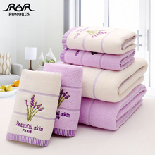 ROMORUS Purple Lavender Embroidered Towels High Quality Cotton Large Bath Towel Soft Absorbent Beach Face Set for Women