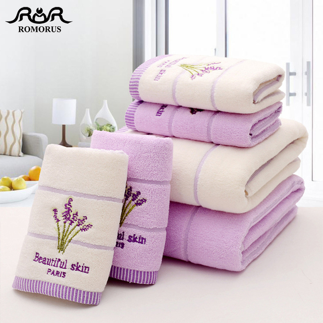 ROMORUS Purple Lavender Embroidered Towels High Quality Cotton Large Bath Towel Soft Absorbent Beach Face Towel Set for Women