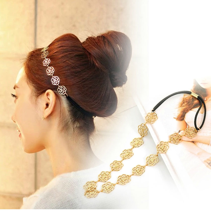 Free Shipping Hot Selling fashion hollow out roses with alloy head band Girls hair accessories