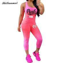 Sexy 2 Pieces Sets Women Sporting Tracksuit Summer PINK Letter Print Sets Cotton Blend T Shirt
