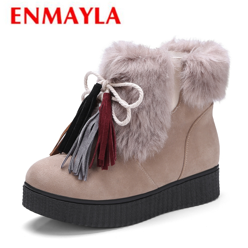 ENMAYLA   Womens Winter Fashion 2018  Round Toe Boots Women  Snow Boots  Womens Boots Ankle Size 34-39 LY134