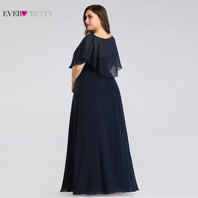 Mother of the Bride Dresses Plus Size Ever Pretty EZ07762 Cheap Navy Blue A-line Chiffon Long Elegant Formal Evening Gowns 1