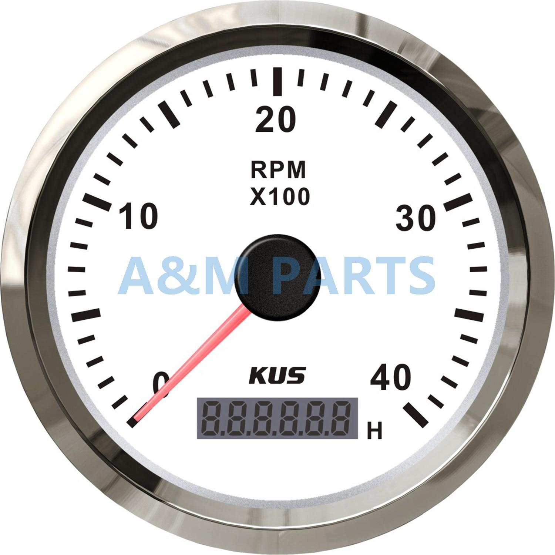 KUS Marine Boat Car Truck Tachometer LCD Hourmeter RPM Tacho Meter Gauge White Face 4000RPM 2 52mm auto car tachometer gauge analog carbon fibre face 0 8000 rpm white background light black bezel