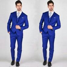 Custom Royal Blue Men Suits for Wedding Suits Man Blazers Slim Groom Tuxedos 3Piece(Jacket+Pants+Vest)Men Jacket Costume Homme