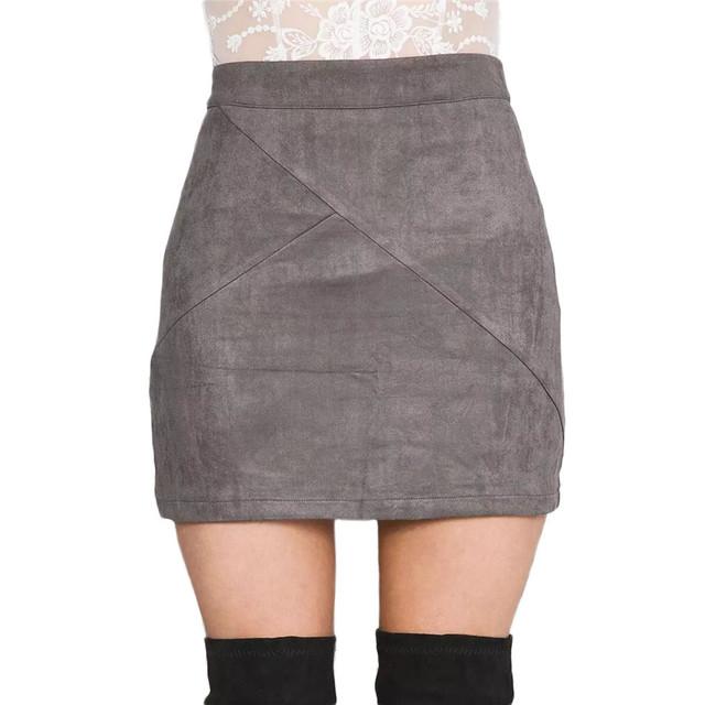 Primavera vintage de gamuza de cuero lápiz falda otoño 2016 cruz alta de la cintura falda de la cremallera de split bodycon para mujer faldas cortas femininas