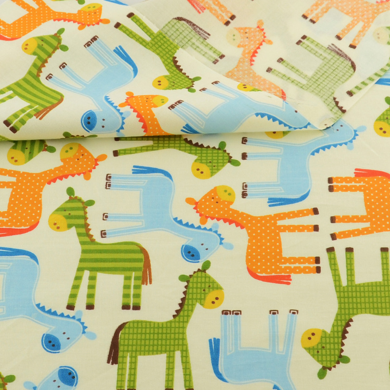 Teramila Cartoon Green Yellow Blue Horse Design Cotton Fabric Bedding Decoration Patchwork Quilting Sewing Clothing Crafts