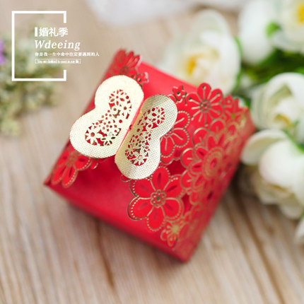 Sweet romantic wedding supplies creative candy cake box cardboard hollow aesthetic laser engraving stamping proces