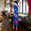 2017 New Silk Long Cheongsam Retro Chinese Wind Slim Was Thin Improved Silk Long Cheongsam Dress