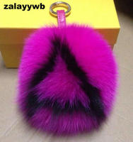 Custome zalzyywb rabbit fur pom pom fox fur ball breloki breloki ręcznie 12 cm torba torby urok pluffy bug kapitału list