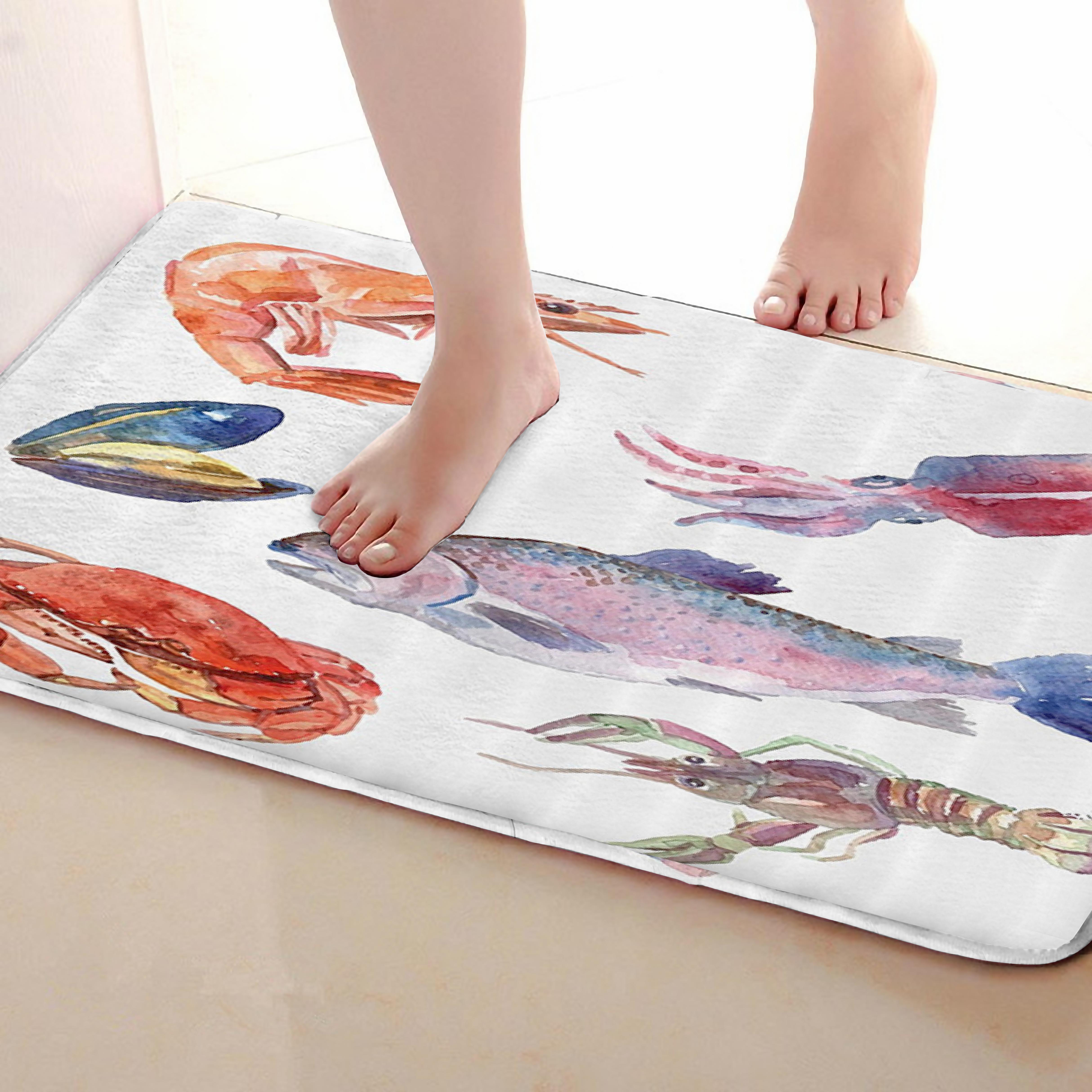 Seafood Style Bathroom Mat,Funny Anti skid Bath Mat,Shower ...