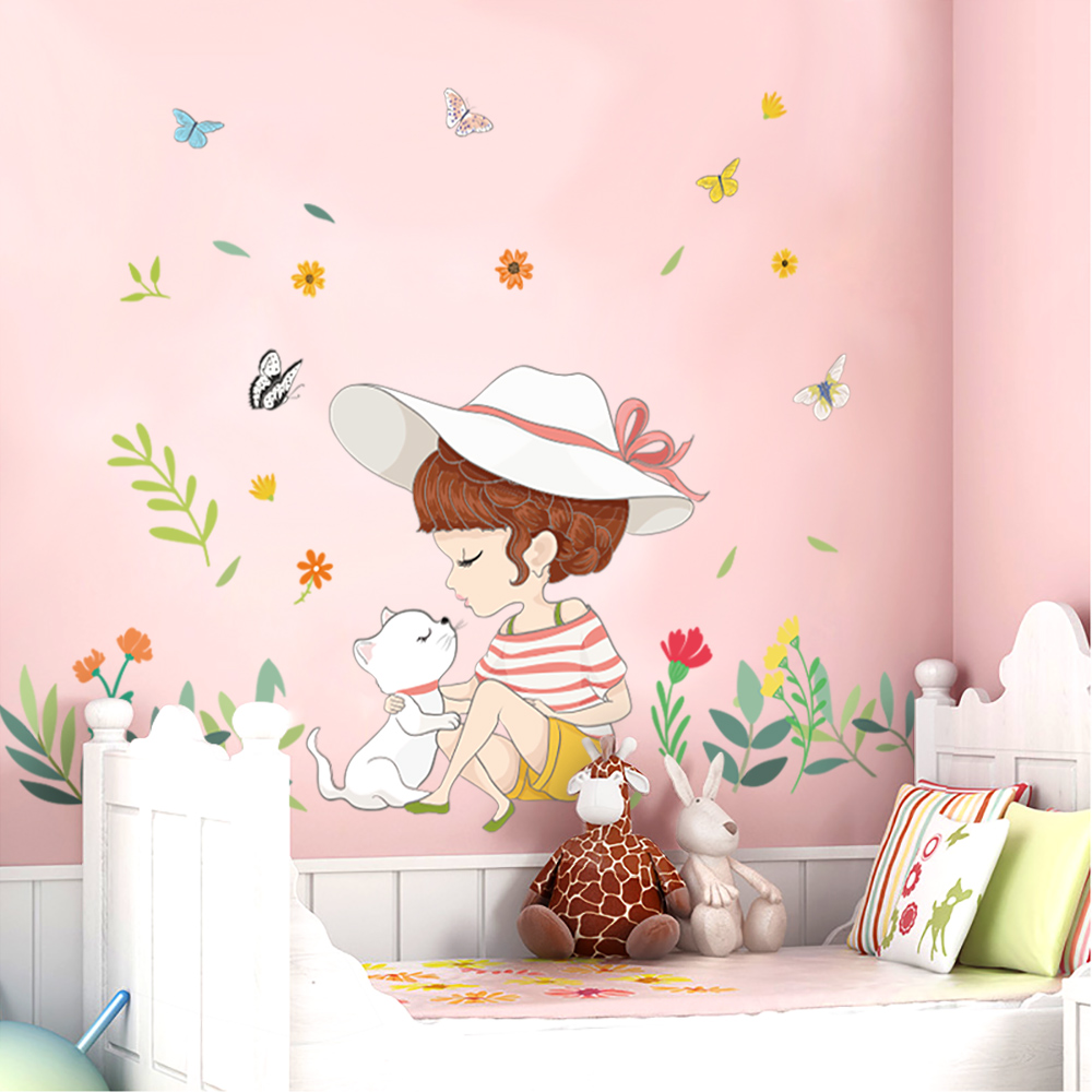 Fast Deliver 1pc Cartoon Wall Sticker Cute Balloon Rabbit For Kids Room Decor Wall Art Mural Diy Furniture Wardrobe Bedroom Living Room High Safety Home & Garden Wall Stickers