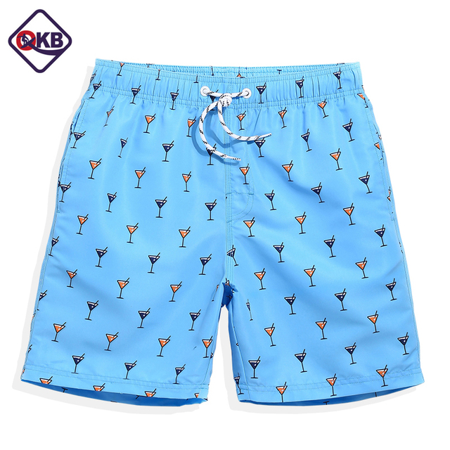 b37da6148dd QIKERBONG New 2017 Summer Board shorts men navy Blue anchor trunks shorts  bathing suit mens board short joggers Beach Board