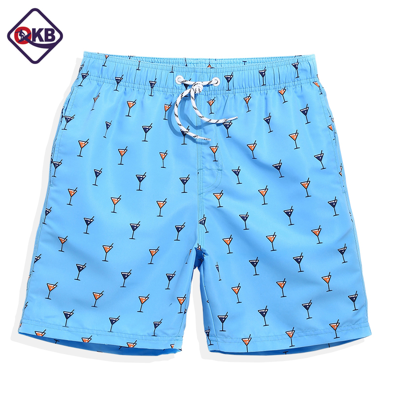 QIKERBONG New 2017 Summer   Board     shorts   men navy Blue anchor trunks   shorts   bathing suit mens   board     short   joggers Beach   Board