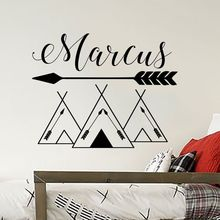 Customized Name Wall Decals Tribal Mountains Stickers Mountain Style Woodland Art Mural Kids Room Nursery AY949