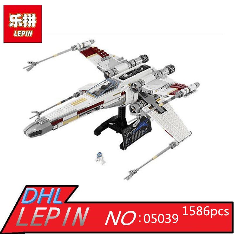1586pcs Lepin 05039 Star Series War Genuine The X Model Wing Red Five Star fighter Set Building Blocks Bricks Toys 10240 2015 high quality spaceship building blocks compatible with lego star war ship fighter scale model bricks toys christmas gift