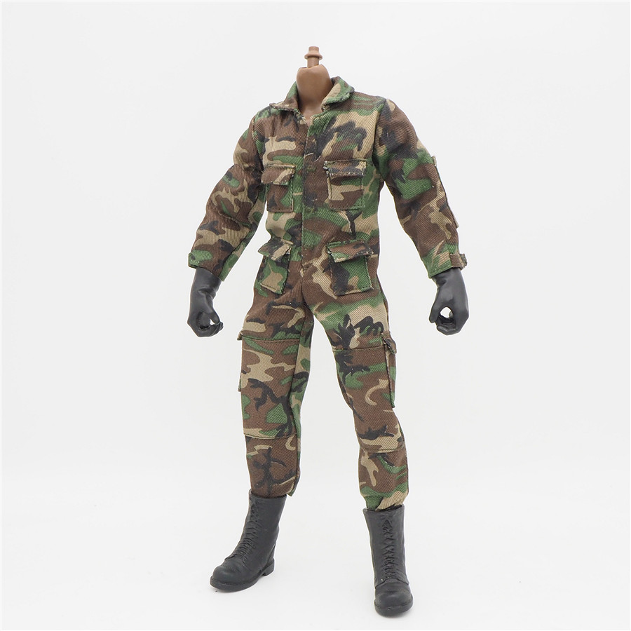 1/6 Scale Uniforms Coverall Jacket Woodland Camo Jumpsuit For 12'' Male Military Action Figure <font><b>Body</b></font> Female Clothes image
