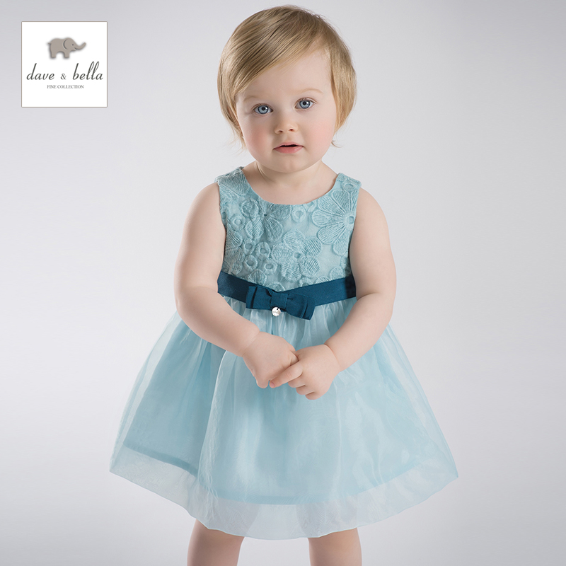 DB1958 dave bella summer baby dress infant clothes girls party dress fairy dress toddle 1 pc vestidos