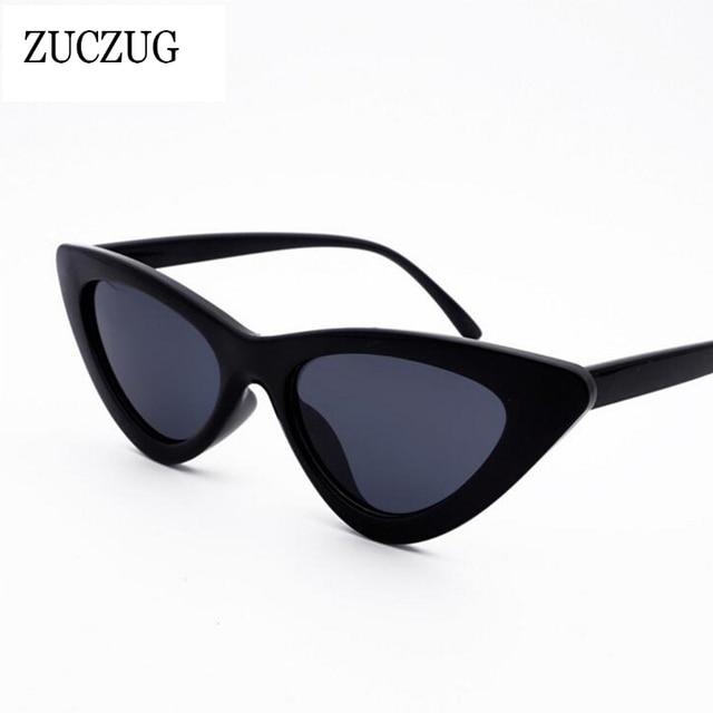ZUCZUG Marque Cat Eye lunettes de Soleil Femmes 2018 Nouvelle Mode Triangle  petite Taille Cadre Lunettes 20ad6e929a3b