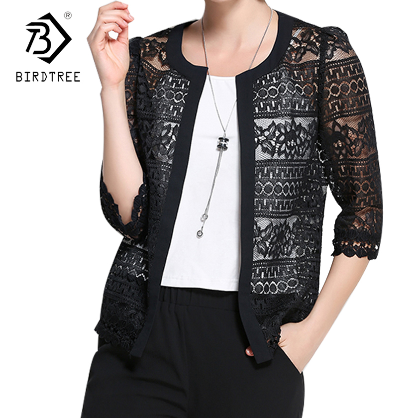 Plus Size 5XL New Spring Summer 3/4 Sleeve Jacket Women Thin Lace Hollow Out Coat Sexy White Black Casual Jackets Tops C7D206A