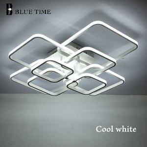 Image 3 - New Square Rings Frame Modern Led Ceiling Lights For Living Room Bedroom White Or Black Arms Ceiling Lighting Fixtures AC85 260V