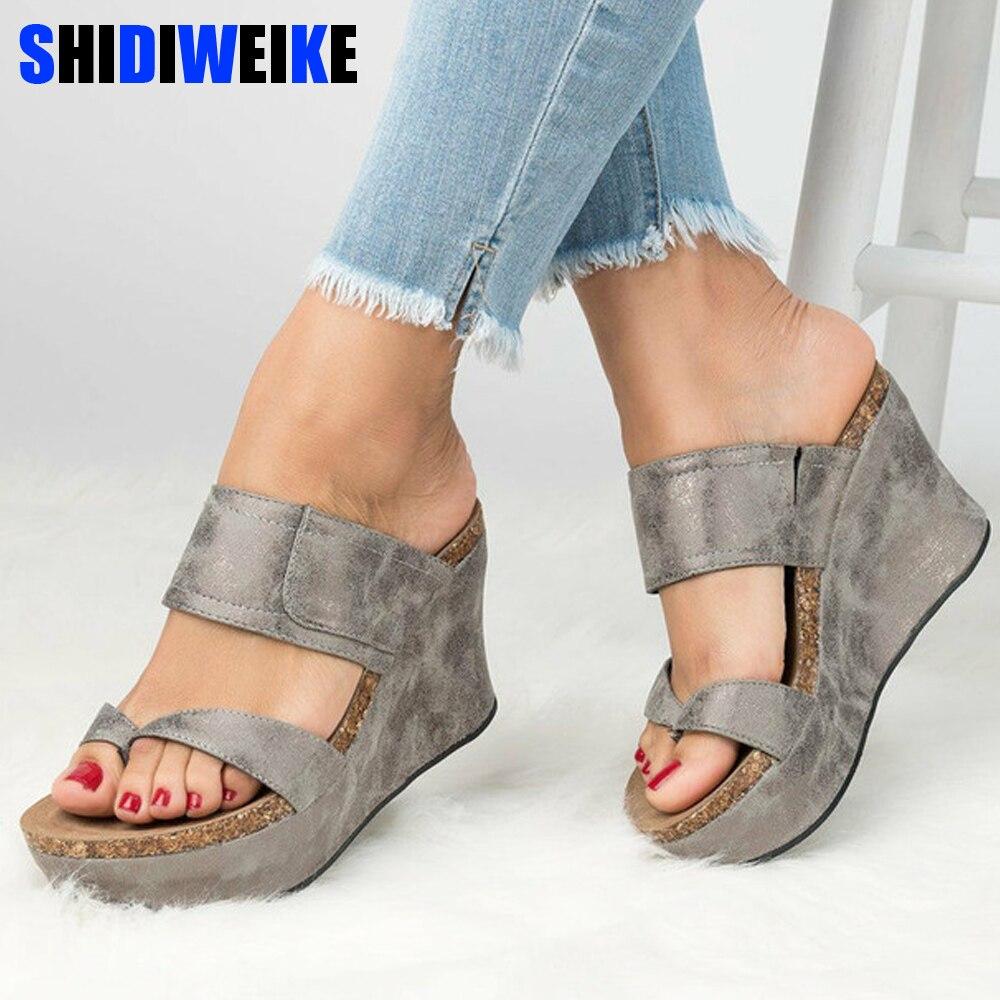 Wedges Shoes Slippers Platform Sandals Flip Flop High-Heels Femme Plus-Size Women Summer