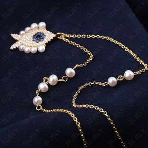 Image 3 - SLJELY collier en argent Sterling 925 pour femmes, pendentif en argent Sterling, couleur or jaune, perle aux yeux porte bonheur, chaîne ajustable, juin
