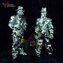 Mirror Clothing 2015 New Mirror Design Dazzling Fashion Costume Men Women Miroir Show Street Art Reflective Clothes Robot Suit