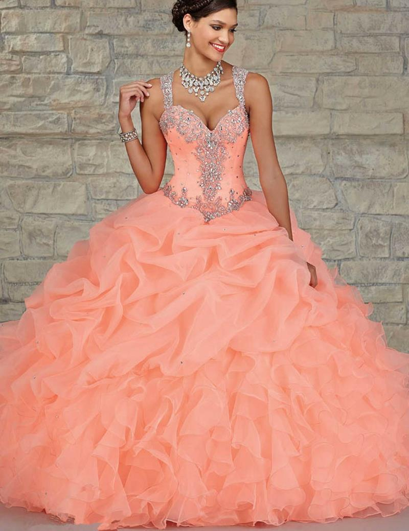 L77 Peach Color Quinceanera Dress Ball Gown Ruffles Organza Crystals Beaded Covered Back Sweet 16 Party On Aliexpress Alibaba Group