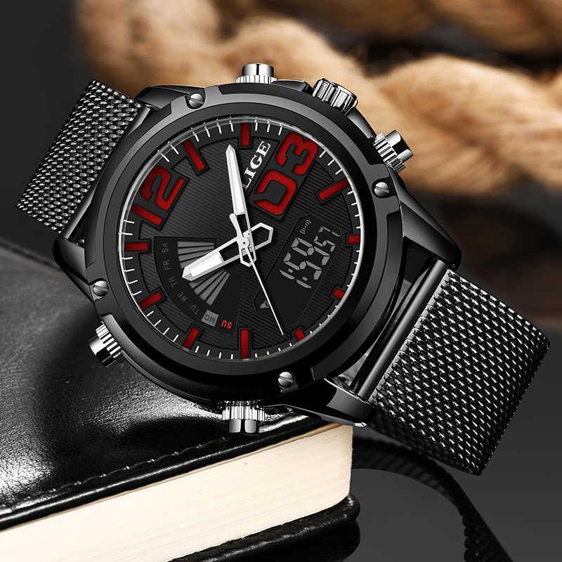 Relogio Masculino, новинка 2019, LIGE, мужские часы, Топ бренд, роскошные, военные, спортивные, цифровые часы, мужские, бизнес, водонепроницаемые, кварцевые часы