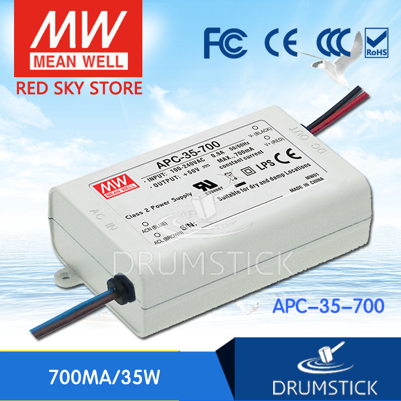 Best-selling MEAN WELL APC-35-700 50V 700mA meanwell APC-35 50V 35W Single Output LED Switching Power Supply original meanwell led driver apc 16 700 16 8w 9 24v 700ma led power supply constant current mean well apc 16 ip42