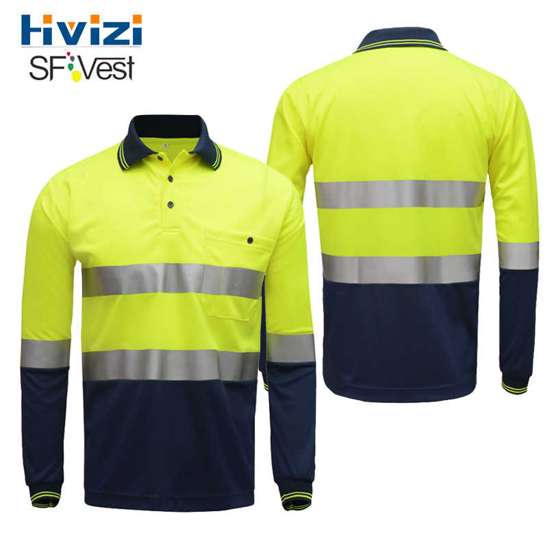 Hivizi Hi vis reflective safety work t-shirt Moisture Wicking Fabric heated bright silver reflective stripes t-shirt  shirt