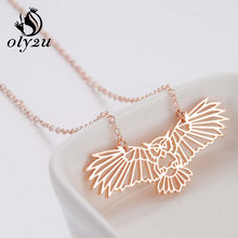 Oly2u Rose Gold Owl Necklace For Women Pendants Necklaces Stainless Steel Choker Long Chain Necklace collares largos de moda(China)