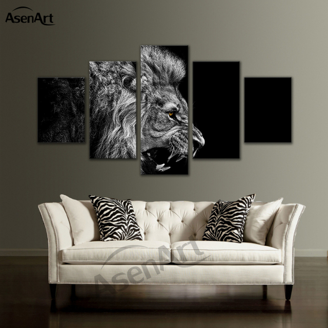 5 panel wall art animal canvas prints picture black and white lion painting framed picture for