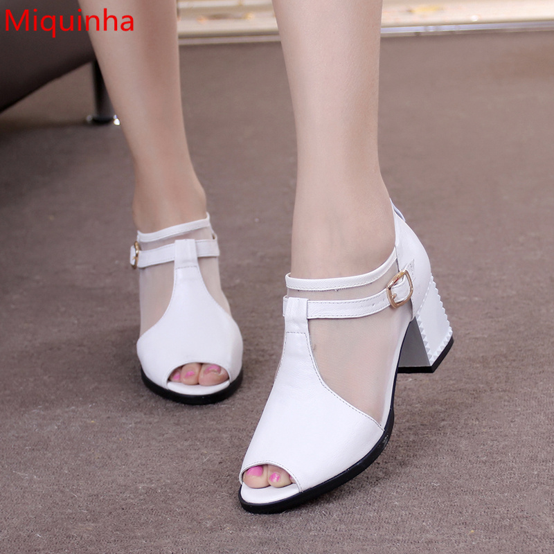 Miquinha Designer Peep Toe Women Med Heel Pumps Air Mesh Hallow Out Lady Shoes Buckle Design Zippered Sexy Fashion Zapatos MujerMiquinha Designer Peep Toe Women Med Heel Pumps Air Mesh Hallow Out Lady Shoes Buckle Design Zippered Sexy Fashion Zapatos Mujer