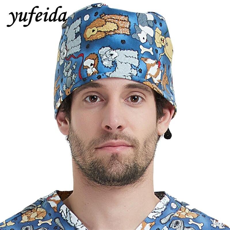 YUFEIDA Medical Caps Doctor and Nurse Workwear Unisex Caps Printing Animals Lab Operation Caps Hosiptal workwear
