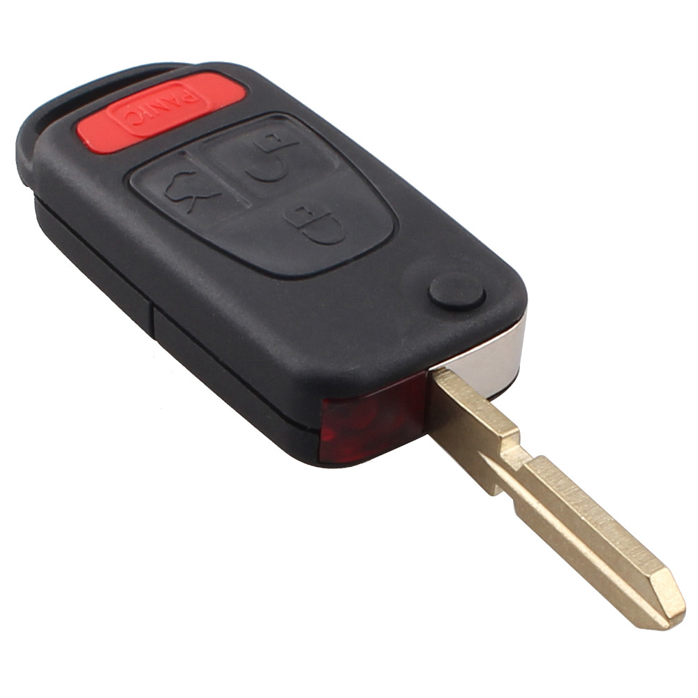 3 + 1 Panic 4 Button Switchblade Flip Key Shell HU39 Blade For MB Benz ML320 ML55 AMG & More Remote Folding Case Cover