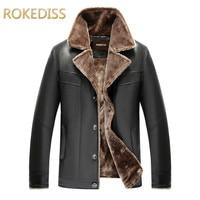 male PU Winter Coats Men Fashion Casual Jackets Lapel Plain Long Sleeve Button Thick Black Mens Leather blazers jacket Overcoat