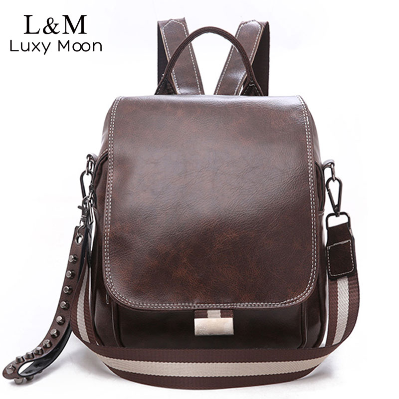 Hot Women Backpack Leather Daypack Fashion Backpacks Female Mochila Feminine Casual Large Capacity Vintage Shoulder Bags XA219H