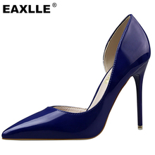 2017 New Top PU High-heeled Shoes Woman Pumps Wedding Shoes 12 Candy Colors Fashion Women Shoes High Heels 10.5cm Free Shipping