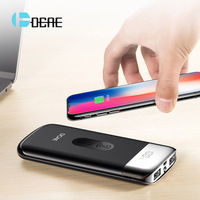 DCAE QI Wireless Charger 10000mah Dual USB Power Bank For iPhone X 8 LED Powerbank Wireless Charging Pad For Samsung S8 S9 Plus