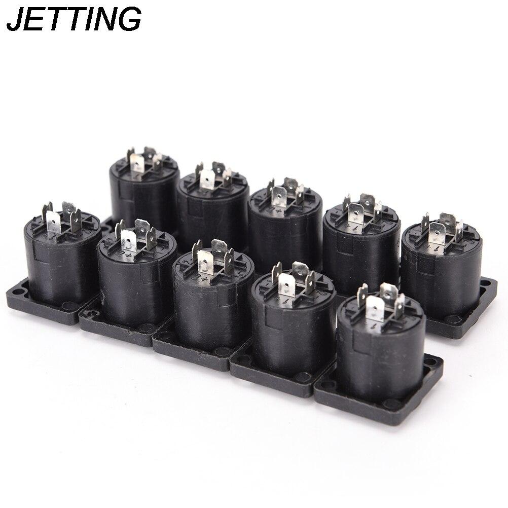 где купить 10pcs/lot 4 Pin Speakon Female Jack Socket Connector Audio Loudspeaker Amplifier Converter for PA Amplifier Cable по лучшей цене