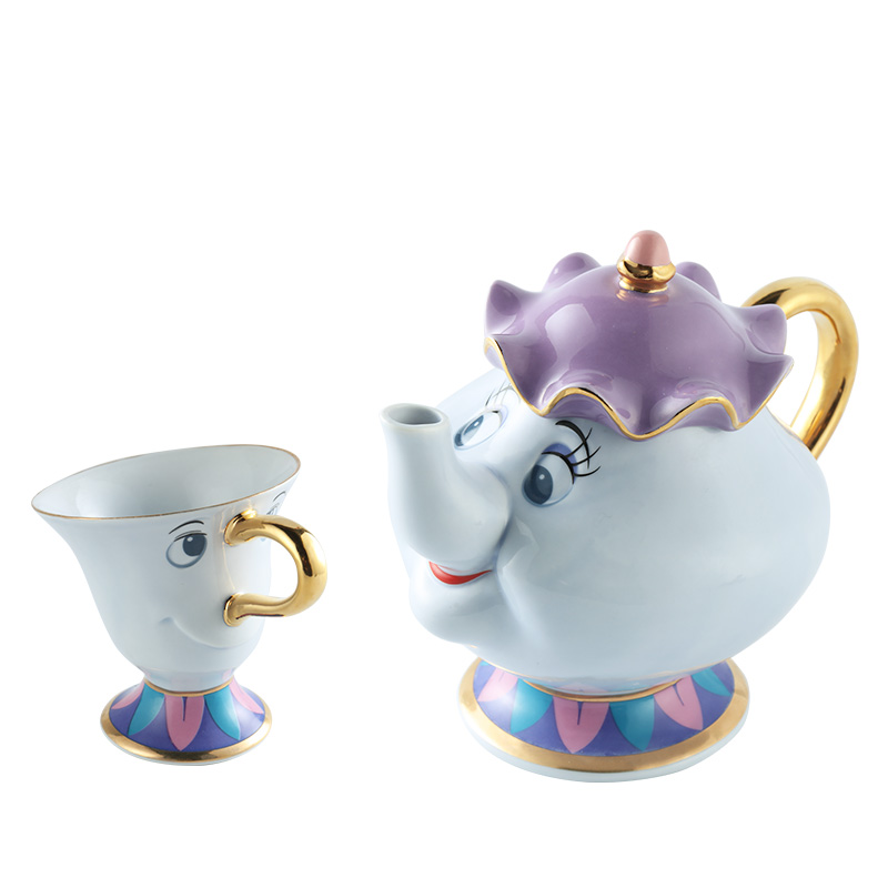 Taza de tetera de la bella y la bestia de dibujos animados Sra. Potts Chip Tea Pot Cup 2PCS One Set Xmas Gift