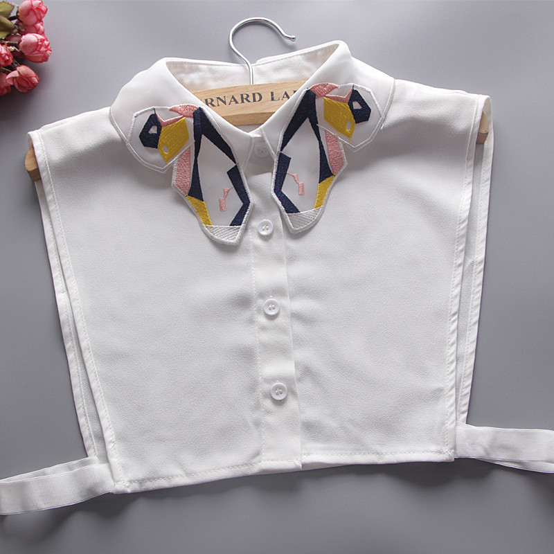 Quality Embroidery Butterfly Vest Adjustable Cols Detachable Fake Collar Lady Vintage Fashion Shirt False Collar Women Top Tie