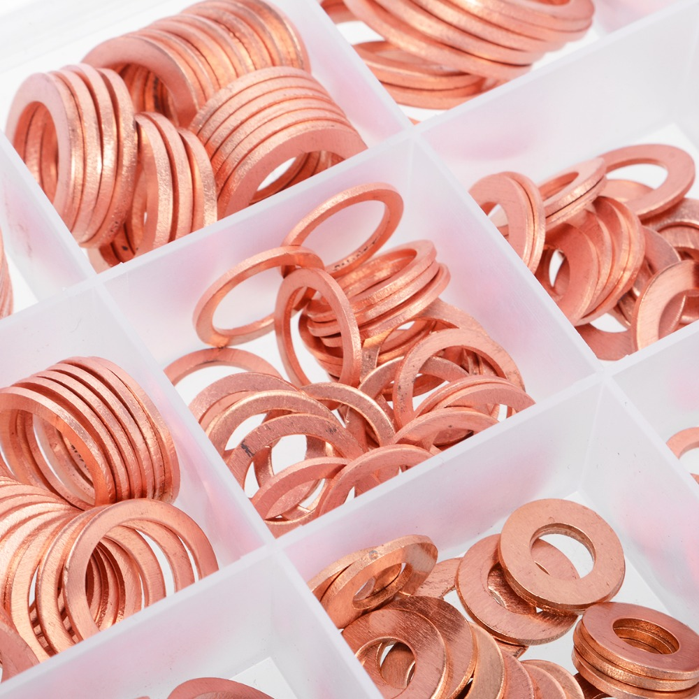 280pcs 12 Sizes Copper Washers Assorted Solid Copper Gasket Washers Sealing Ring Set M5/6/8/10/12//14/16/20 With Plastic Case